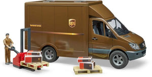 B02538 MERCEDES BENZ SPRINTER UPS DELIVERY VAN WITH PALLET MOVER AND FIGURE
