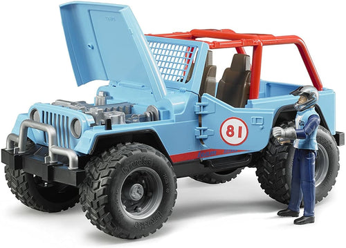 B02541 BRUDER CROSS COUNTRY JEEP BLUE RACER WITH DRIVER