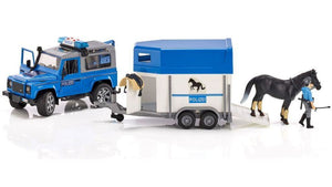 B02588 BRUDER LAND ROVER DEFENDER STATION WAGON POLICE WITH HORSEBOX, HORSE AND POLICEMAN