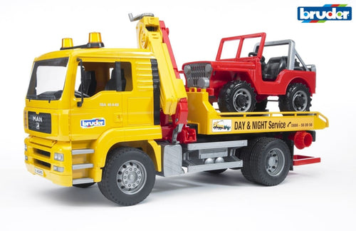 B02750 BRUDER MAN TGA BREAKDOWN LORRY WITH CRANE AND JEEP