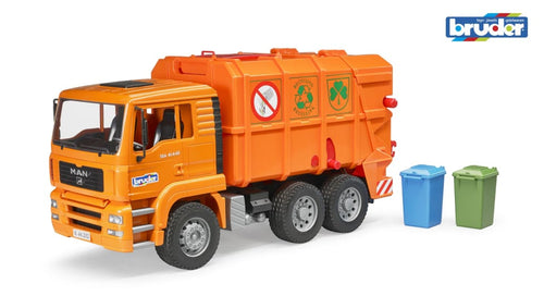 B02760 BRUDER MAN TGA RECYCLING LORRY IN ORANGE