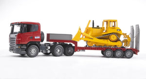 B03555 Bruder Scania R-Series truck with low loader and CAT bulldozer