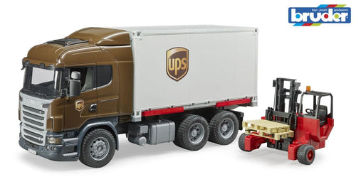 B03581 BRUDER SCANIA R-SERIES UPS TRUCK AND FORK LIFT