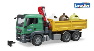 B03753 BRUDER MAN TGS TRUCK AND RECYCLING CONTAINERS