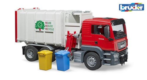 B03761 BRUDER MAN TGS SIDE-LOADING REFUSE TRUCK AND BINS