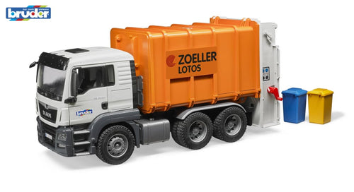 B03762 Bruder Man Tgs Refuse Truck In Orange Tractors And Machinery (1:16 Scale)
