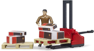 B62210 BRUDER LOGISTICS SET WITH PALLET MOVER, UPS FIGURE AND 2 PALLETS