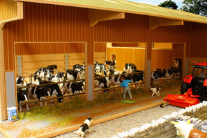 Bbb120 Dairy Unit - Big Brushwood Basics With Free Set Of Britains Fresian Cattle! Farm Buildings &