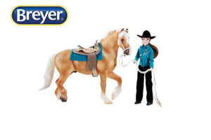BR1788 Breyer Traditional Spirit of the Horse Lets go Riding with Palomino Horse and Western Saddle (1:9 scale)