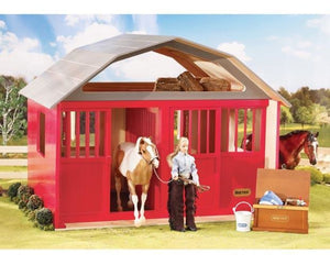 BR307 RED PAINTED WOODEN 2 STALL BARN TRADITIONAL SERIES