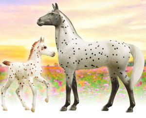 BR62207 SPOTTED WONDERS KNABSTRUPPER MARE AND FOAL FREEDOM SERIES