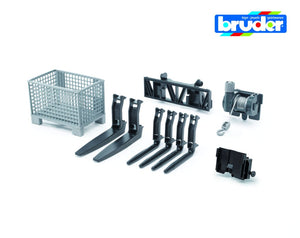 B02318 BRUDER PALLET CAGE, FRONT LOADER FORK ATTACHMENT AND WINCH