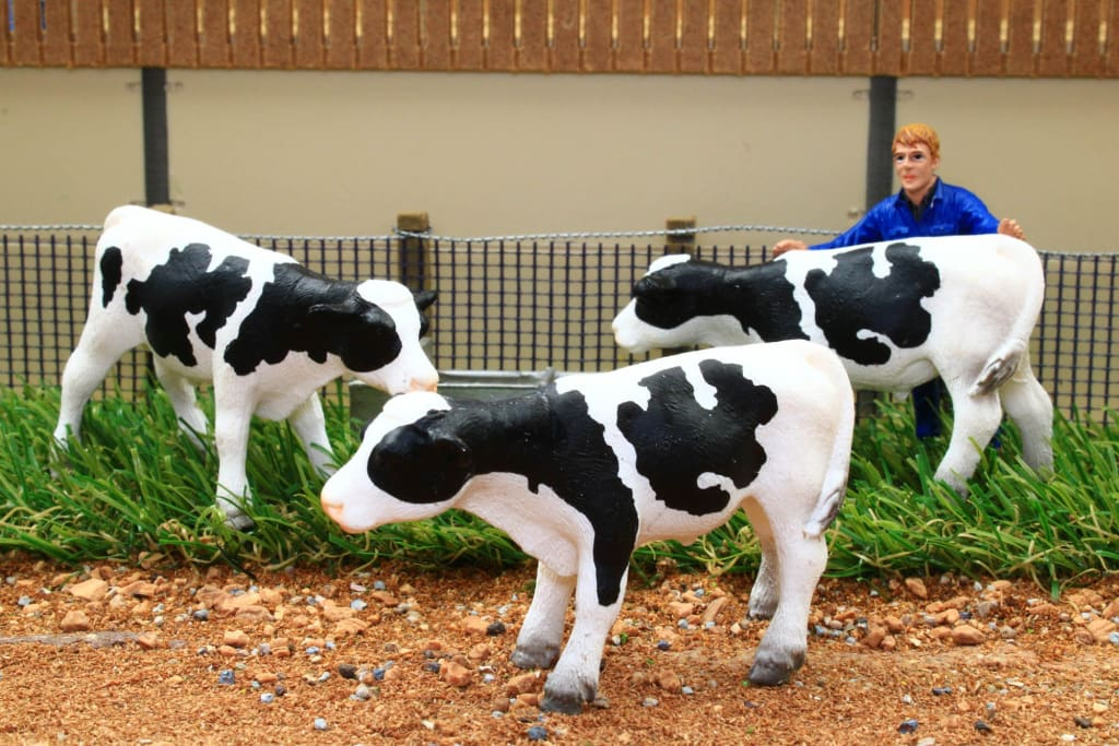 BT3068 3 X STORE CATTLE STANDING (WHITE WITH BLACK MARKINGS)