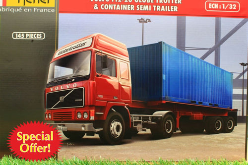 HEL81702 HELLER 132 SCALE VOLVO F12-20 GLOBETROTTER LORRY WITH CONTAINER TRAILER TRAILER 146 PIECE KIT REQUIRES GLUE AND PAINT