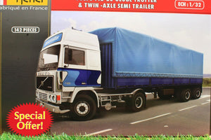 HEL81703 HELLER 132 SCALE VOLVO F12-20 GLOBETROTTER LORRY WITH TWIN AXLE TRAILER 146 PIECE KIT REQUIRES GLUE AND PAINT