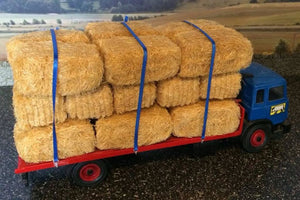 HLT-WM082 Ratchet Straps (Blue) holding straw bales on lorry