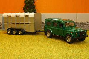 Kg1726 Kids Globe Land Rover 110 With Livestock Trailer (Colour May Vary) Tractors And Machinery