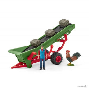 Sl42377 Schleich Hay Conveyor With Farmer Bales And Cockerel (1:24 Scale) Animals Figures (All