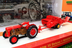 UH5238 UNIVERSAL HOBBIES MF 35 DELUX TRACTOR WITH MASSEY HARRIS NO3 BALER BOXED SET LTD EDITION