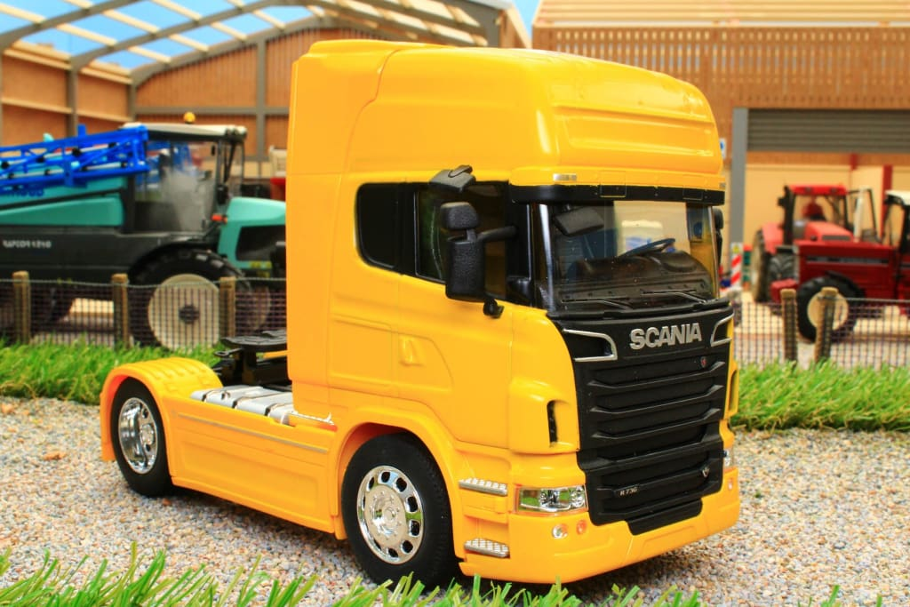 WEL32670SY WELLY 132 SCALE SCANIA R730 V8 4X2 LORRY IN YELLOW