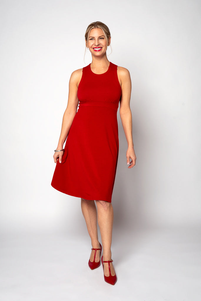 Dress (X-Back) - Fit & Flare Style in Red