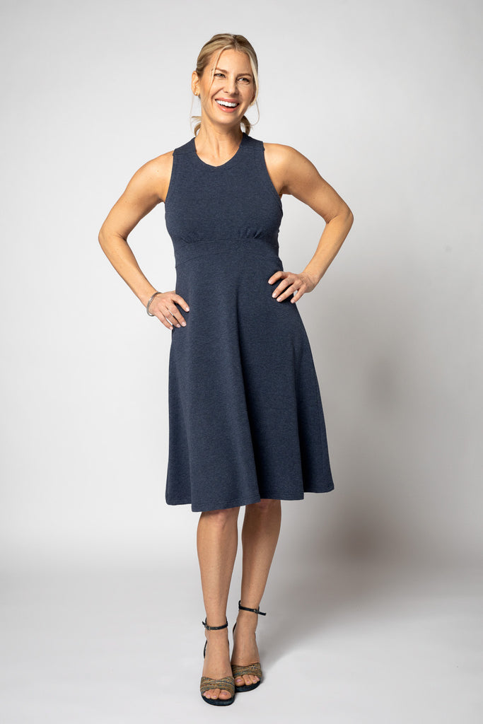 Dress (X-Back) - Fit & Flair Style in Blue