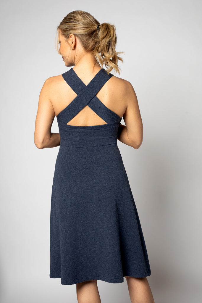 Fit and Flair Blue Cross-Back Dress