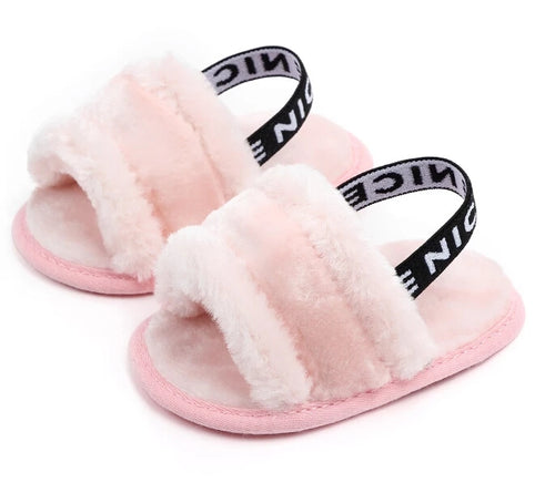 Faux Fur Pink Slides