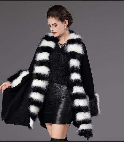 SC63 Women Party Overcoat Cloak High 2017 Long Winter Imitation Raccoon Fur Collar Knitted Cardigan Cape Cashmere Poncho Shawl