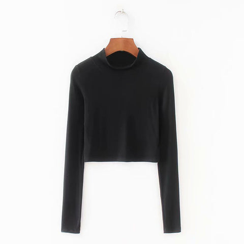 Rib Knitting Women Sexy Skinny Short Length Crop Top T-shirt Turtleneck Solid Sexy Crop Top Bottoming Casual Knitted T-shirt