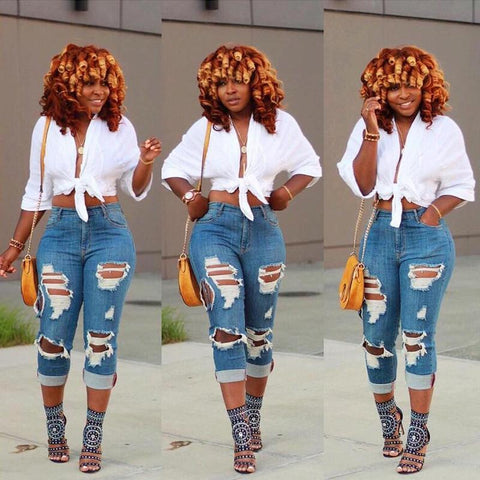 Stylish High Waist Hole Jeans