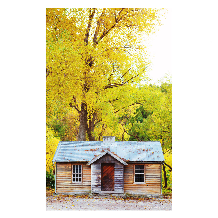 photo arrowtown miners hut in autumn, arrowtown, central otago, new zealand