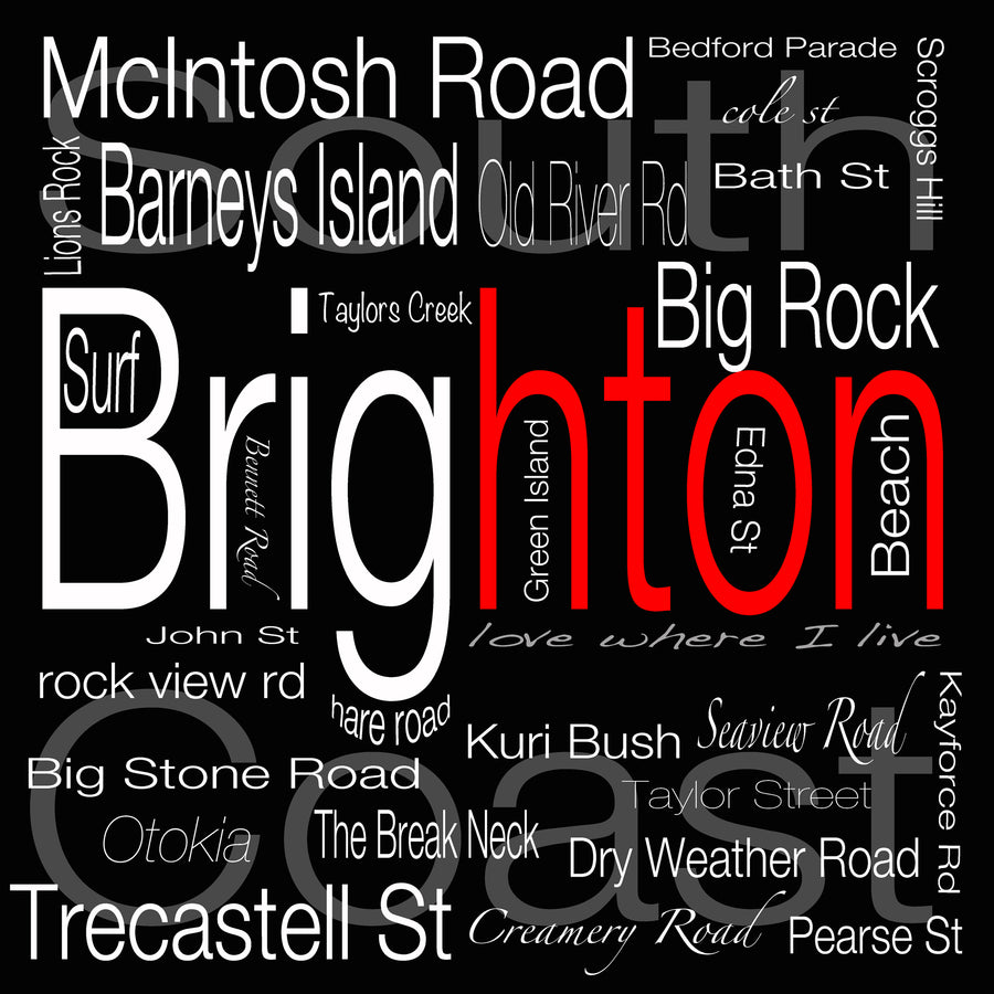brighton dunedin new zealand street names word art photo