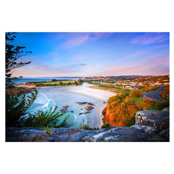 photo of brighton beach dawn sunrise, dunedin, new zealand, dawn, south coast canvas or photo block