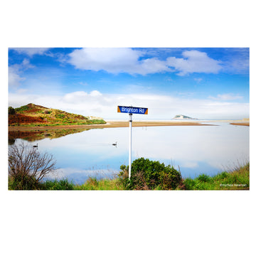 brighton road sign at Waldronville estuary Island Park Dunedin New Zealand