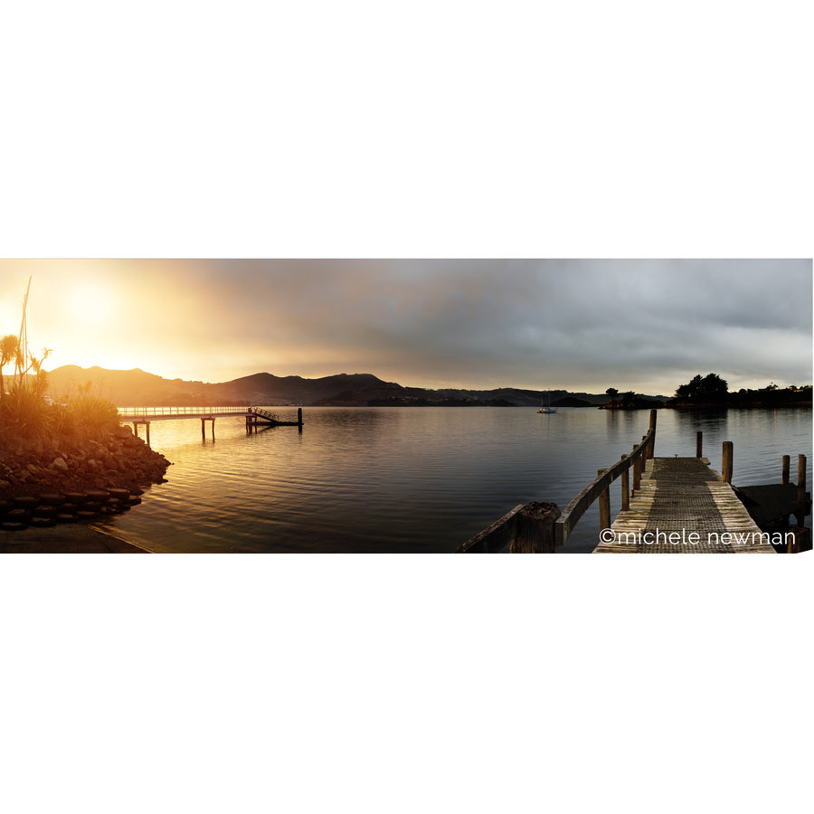 broad bay old jetty at twilight, otago harbour, peninsula, dunedin, new zealand