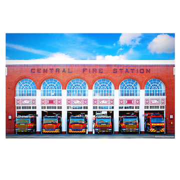 photo dunedin central fire station service engines dunedin new zealand