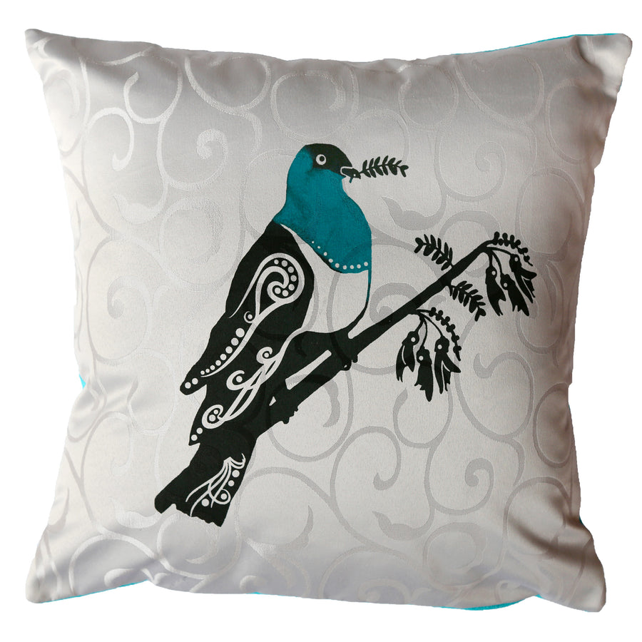 New Zealand native bird kereru wood pigeon on cushion cover starfish photos