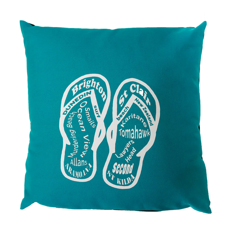 cushion cover dunedin surf beaches jandals teal