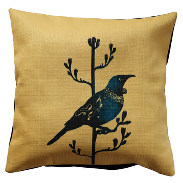 Cushion cover yellow linen tui new zealand native bird