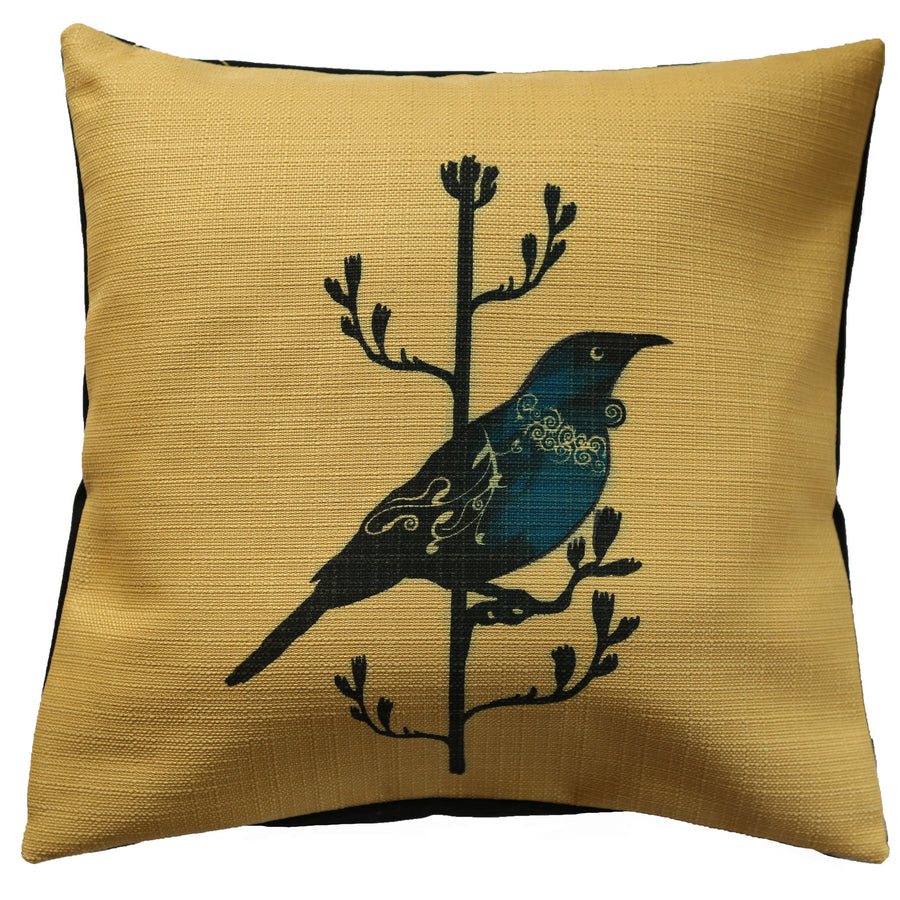 cushion cover yellow linen tui native bird design, new zealand