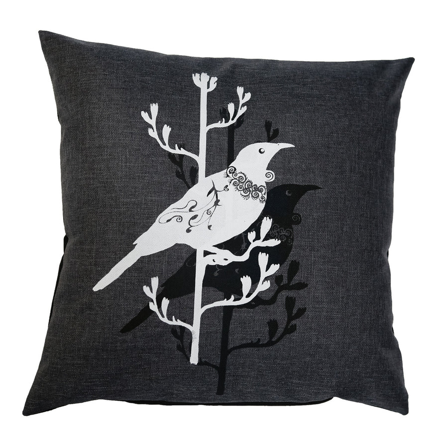 two tui silouette cushion cover new zealand native bird