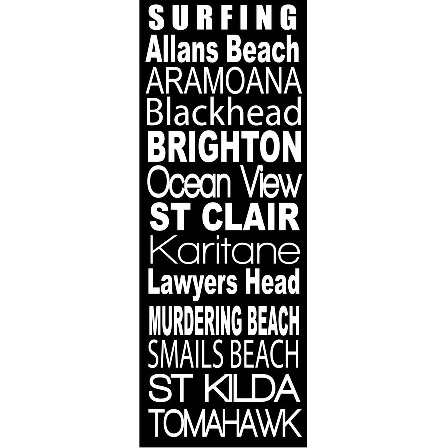 Dunedin Surfing Beaches - Word Art, New Zealand