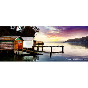 photo macandrew bay boatsheds at sunset otago harbour peninsula dunedin new zealand