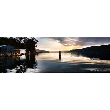photo of macandrew bay jetty poles at sunset, otago peninsula, harbour, dunedin, new zealand