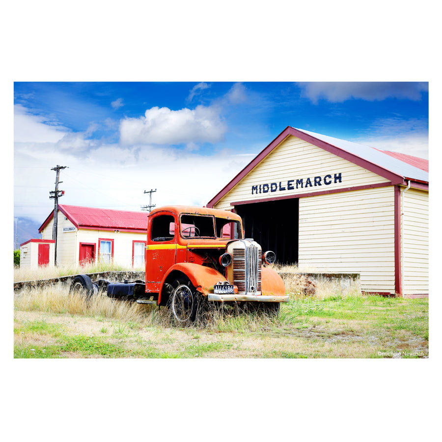 photo austin truck with middlemarch railway station otago new zealand