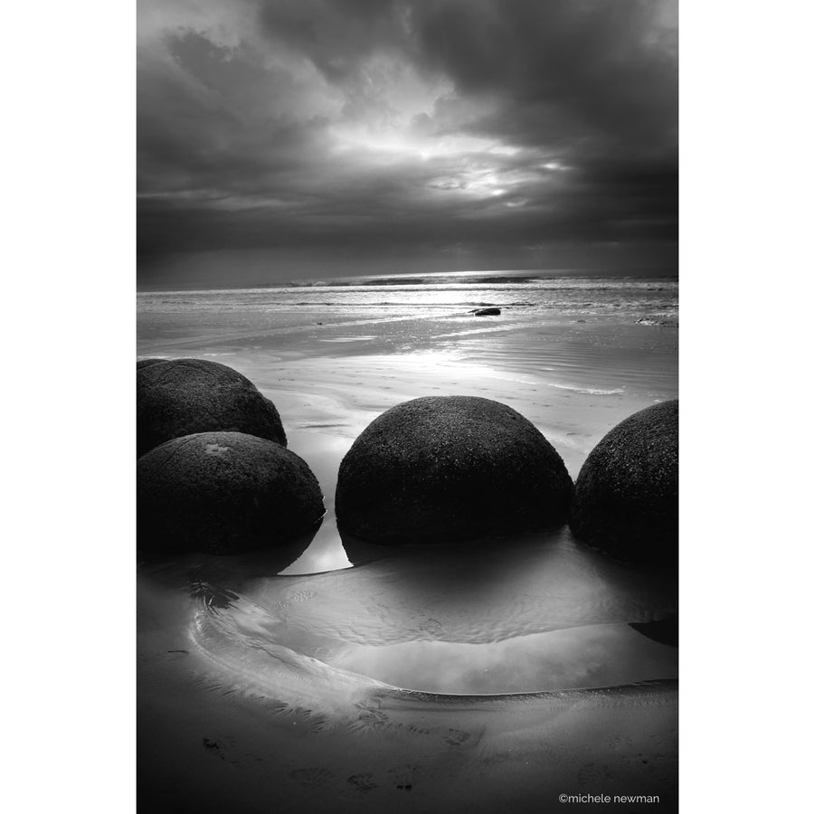 moeraki boulders photos in black and white portrait otago new zealand