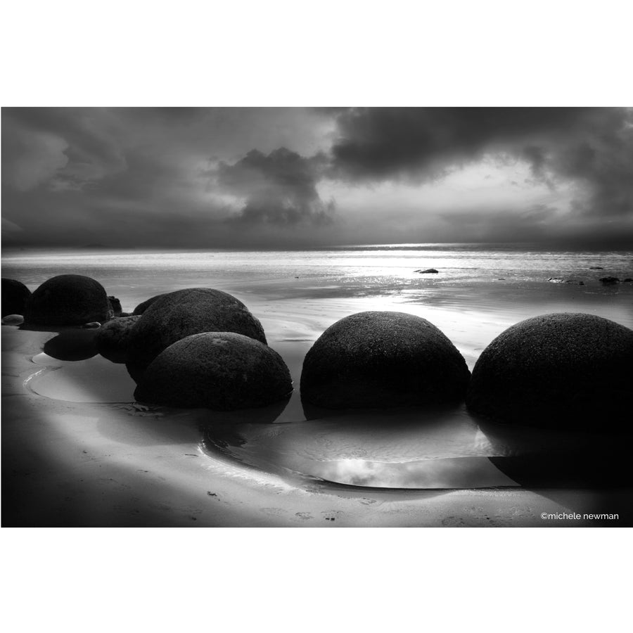 moeraki boulders photos in black and white landscape otago new zealand