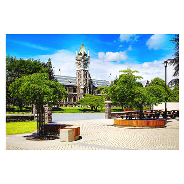 photo otago university registry and clock tower building, dunedin, new zealand