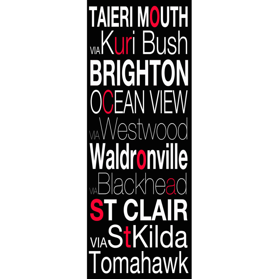 our coast taieri mouth brighton st clair to Tomahawk word art photo block
